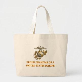 Proud Marine Grandma Large Tote Bag