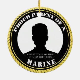 Proud Marine Parent Round Ceramic Ornament