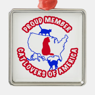 Proud Member CAT LOVERS OF AMERICA Silver-Colored Square Ornament