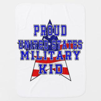 Proud Military Kid Baby Blanket - White