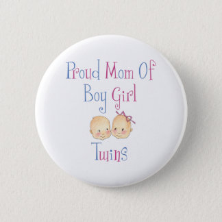 Proud Mom Of Boy Girl Twins 2 Inch Round Button
