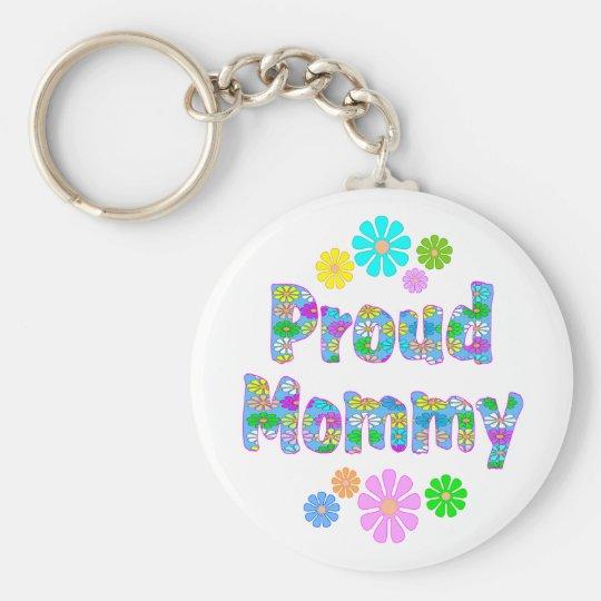 Proud Mommy Basic Round Button Keychain