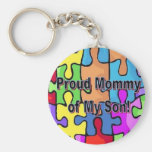 Proud Mommy of My Son Basic Round Button Keychain