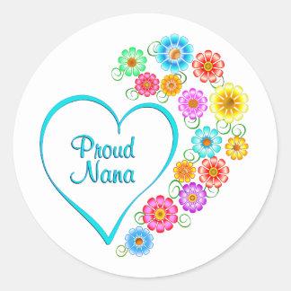 Proud Nana Heart Classic Round Sticker