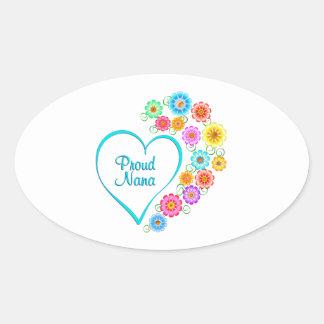 Proud Nana Heart Oval Sticker