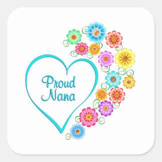 Proud Nana Heart Square Sticker