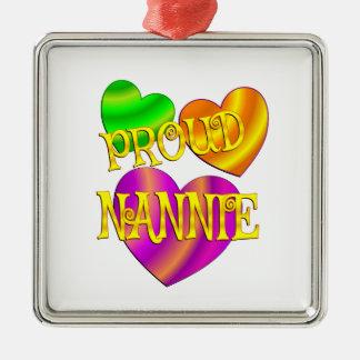 Proud Nannie Silver-Colored Square Ornament