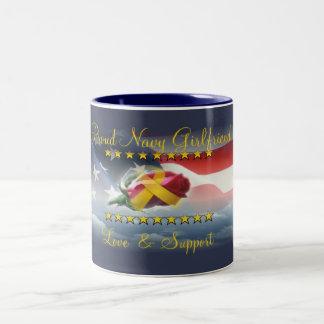 Proud Navy Girlfriend Two-Tone Coffee Mug