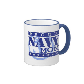 Proud Navy Mom Ringer Coffee Mug