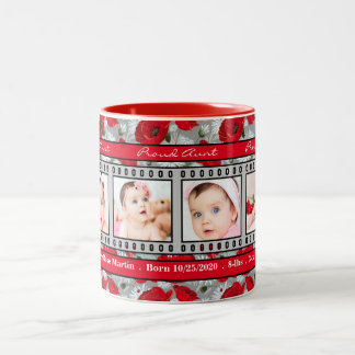Proud New Aunt 4 Photo Mug Red Poppies