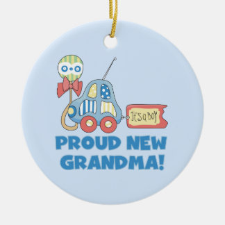 Proud New Grandma It's a Boy Gifts Ceramic Ornament