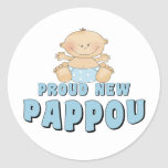 PROUD NEW Pappou Boy Classic Round Sticker