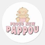 PROUD NEW Pappou Girl Round Sticker