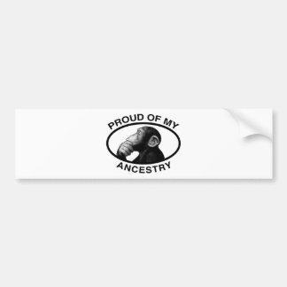 Proud Of My Ancestry Chimp Bumper Sticker
