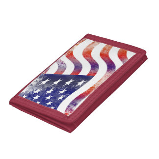 Proud Patriotic USA Flag Red White Blue Destiny Trifold Wallet
