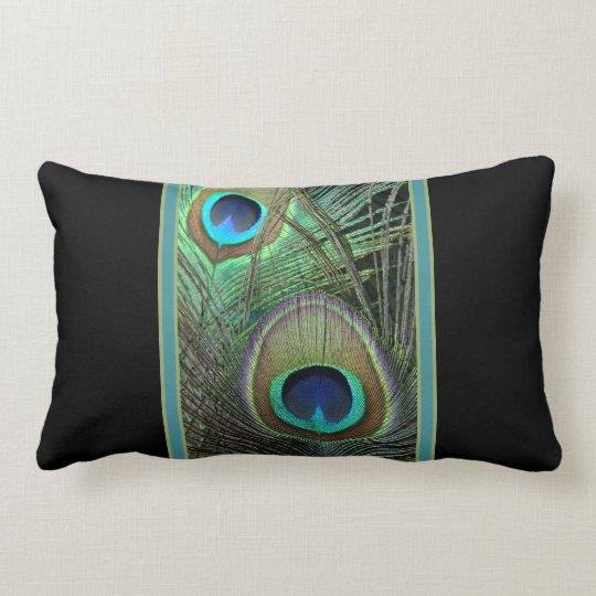 Proud Peacock & Black Lumbar Pillow