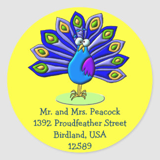 Proud Peacock Classic Round Sticker