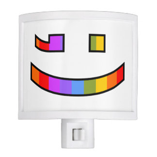Proud Rainbow-Patterned Winking Face Depiction Nite Lite
