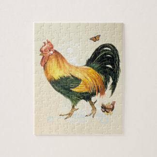 Proud Rooster with hen and chickens. Puzzles