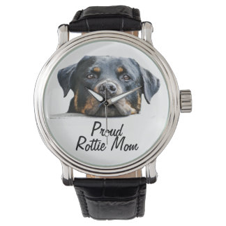 Proud Rottie Mom Rottweiler Dog Face Watch