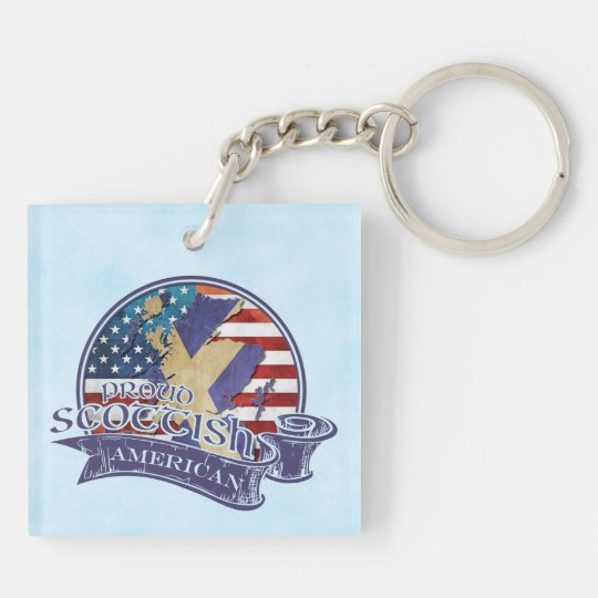 Proud Scottish American Keyring Double-Sided Square Acrylic Keychain
