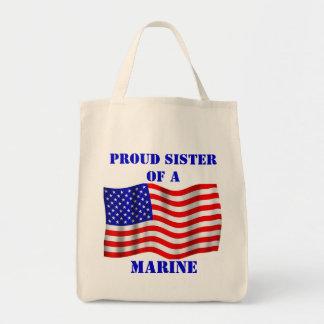 Proud Sister Of A Marine U.S. Flag Tote Bag