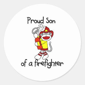 Proud Son of Firefighter Round Sticker