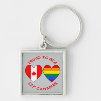 Proud to be a Gay Canadian Silver-Colored Square Keychain