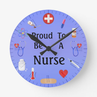 Proud To Be A Nurse / Or Your Text Wall Clocks