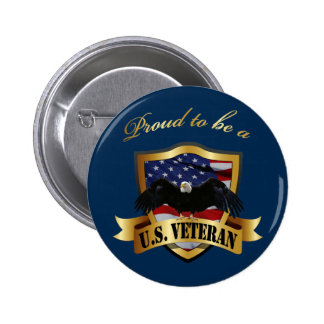 Proud to be a U.S. Veteran - navy blue 2 Inch Round Button
