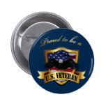 Proud to be a U.S. Veteran - navy blue Button