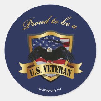 Proud to be a U.S. Veteran - navy blue Classic Round Sticker