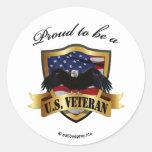 Proud to be a U.S. Veteran Round Sticker