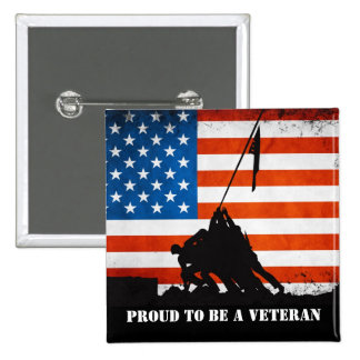 Proud to be a Veteran 2 Inch Square Button