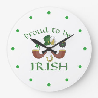 Proud to be Irish Pipes and Green Hat Large Clock
