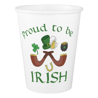 Proud to be Irish Pipes and Green Hat Paper Cup