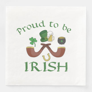 Proud to be Irish Pipes and Green Hat Paper Napkins