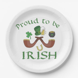 Proud to be Irish Pipes and Green Hat Paper Plate