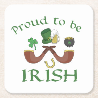 Proud to be Irish Pipes and Green Hat Square Paper Coaster