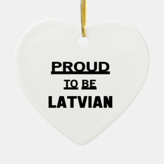 Proud to be Latvian Ceramic Heart Ornament