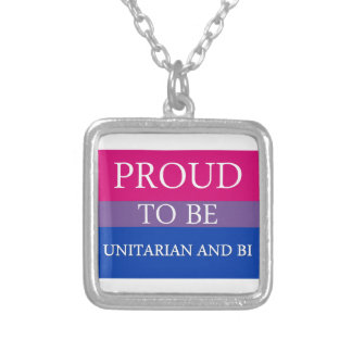 Proud To Be Unitarian and Bi Square Pendant Necklace