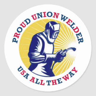Proud Union Welder USA Classic Round Sticker