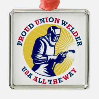 Proud Union Welder USA Metal Ornament