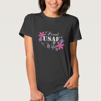 Proud USAF Wife Floral T-Shirt