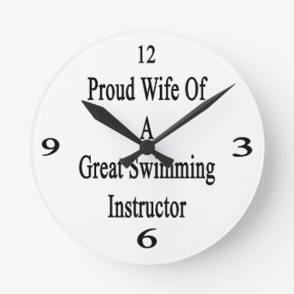 Proud Wife Of A Great Swimming Instructor Wall Clock
