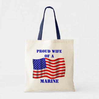 Proud Wife Of A Marine U.S. Flag Tote Bag