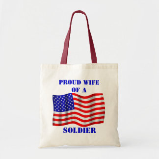 Proud Wife Of A Soldier U.S. Flag Tote Bag