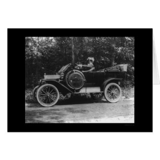 Proud Woman Behind the Wheel of her Car 1914 Card