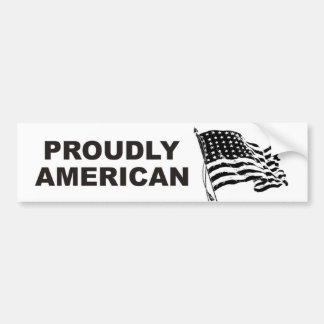 Proudly American with waving Stars and Stripes Bumper Sticker