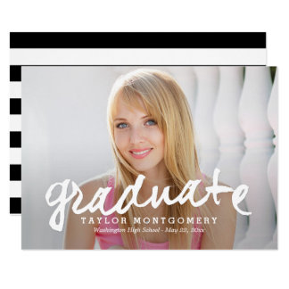 Proudly Brushed Graduation Announcement - White